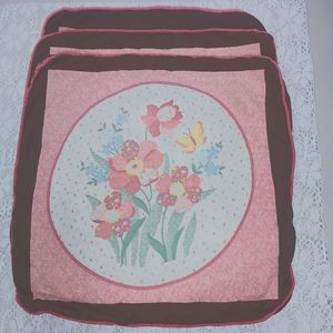 2/ $15 Quilted Pillow Covers Floral Butterfly